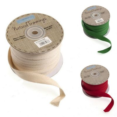 Cotton Herringbone Christmas Trim - 15mm Wide - 3 Colours