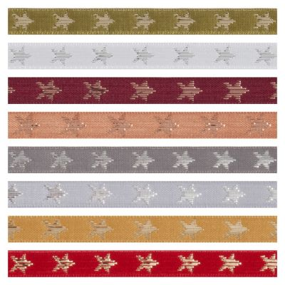 Berisfords Metallic Christmas Ribbon - Galaxy Stars - 8 Colours - 10mm Wide