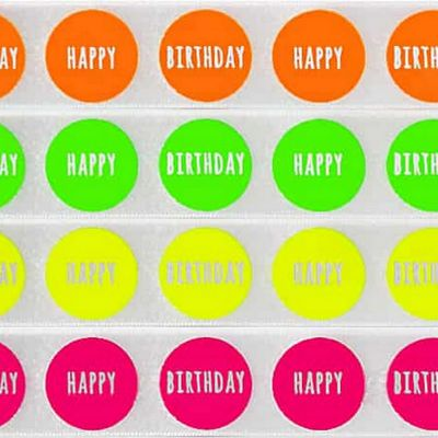 Berisfords Happy Birthday Big Dot Satin Ribbon - 25mm
