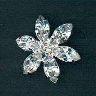 Diamante 20mm Flower Shaped Shank Button - Crystal/Nickel