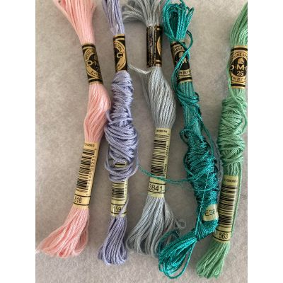 Remnant - 5 x DMC Thread for Embroidery & Cross Stitch - Part Unravelled