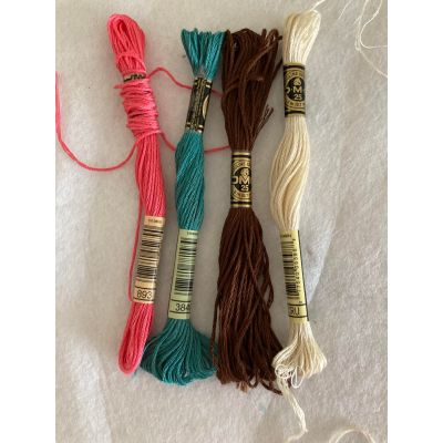 Remnant - 4 x DMC Stranded Cotton Threads For Embroidery & Cross stitch - Part unravelled