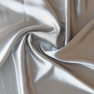 Silver Plain Solid Satin Dressmaking Fabric