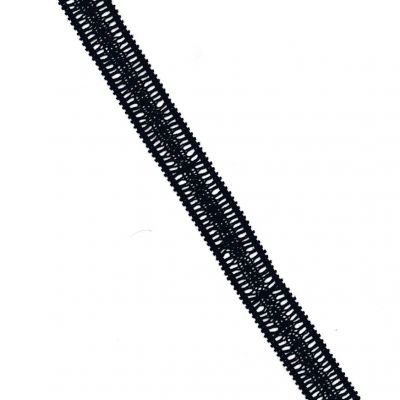 Elasticated Cotton Lace Trim 30mm Wide - Black