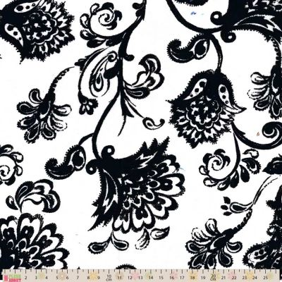 Cotton Lawn - Trailing Floral Black On White
