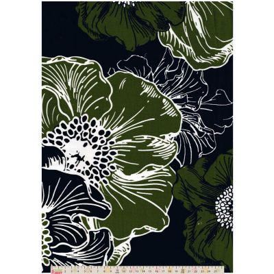 Stretch Sateen - Large Floral Green On Black
