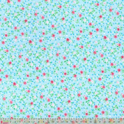 Polycotton - Dainty Floral On Turquoise