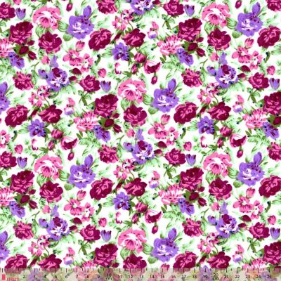 Polycotton - Packed Purple Floral