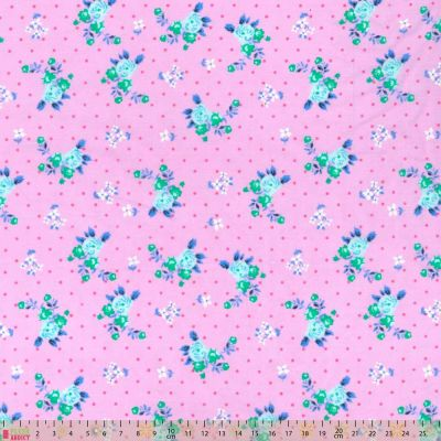 Polycotton - Blue Floral On Dotty Pink