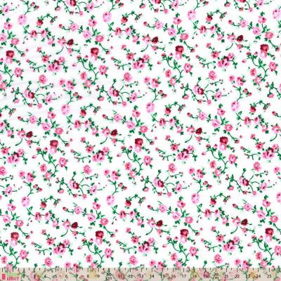 Polycotton - Dainty Ditsy Trails Pink On White