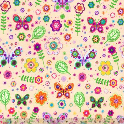 Polycotton - Butterflies And Flowers On Creamy Peach