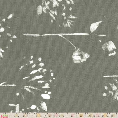 Upholstery / Curtain Fabric - Wild Flowers Grey