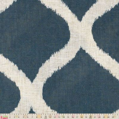 Curtain Fabric - Loose Weave - Swedish Trellis Denim Blue - 280cm Wide
