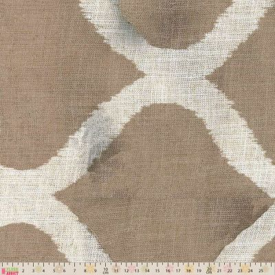Curtain Fabric - Loose Weave - Swedish Trellis Stone - 280cm Wide