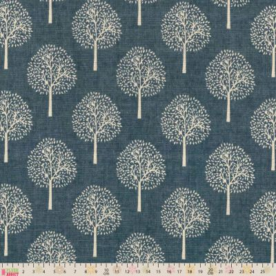 Linen Look Canvas Fabric Trees On Vintage Blue Grey