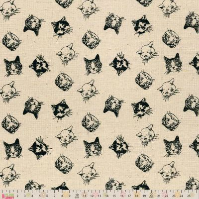 Linen Look Canvas Fabric - Cats! On Natural