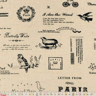Linen Look Canvas Fabric - Vintage Illustrations & Text On Natural