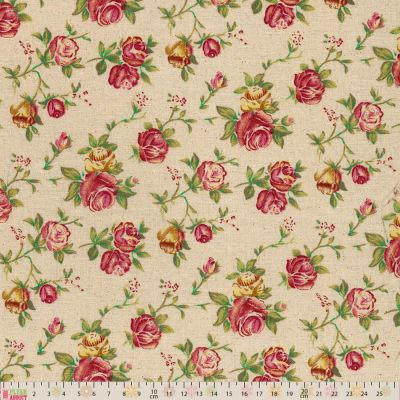 Linen Look Canvas Fabric Roses On Natural