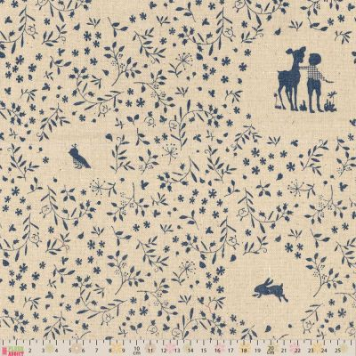 Linen Look Canvas Fabric - Vintage Blue Children At Play On Natural