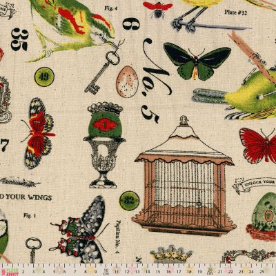 Linen Look Canvas Fabric - Birds And Butterflies On Natural