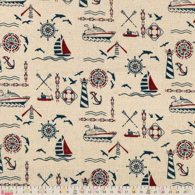 Linen Look Canvas Fabric - Nautical Icons On Natural