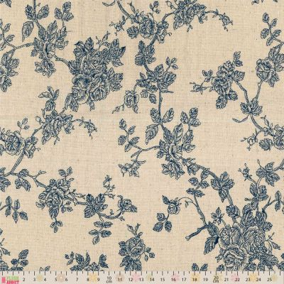 Linen Look Canvas Fabric - Blue Roses On Natural