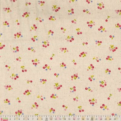 Linen Look Canvas Fabric - Cherries On Natural