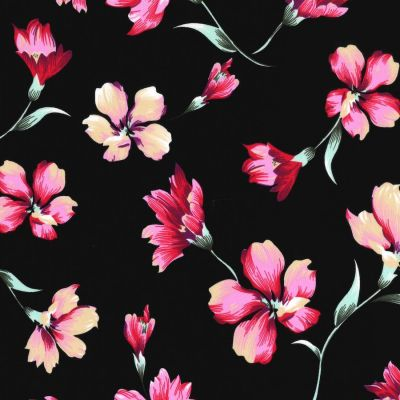Stretch Cotton Fabric - Floral On Black