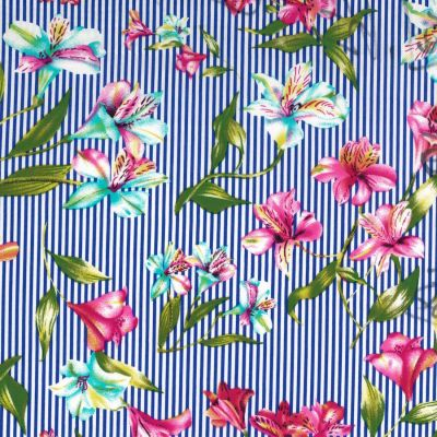 Stretch Cotton Fabric - Tropical Floral On Blue Stripe