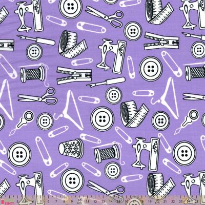 Polycotton - Sewing Icons On Lilac