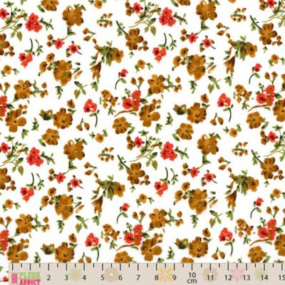 Polycotton - Orange Brown Floral On Cream