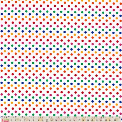 Polycotton - Bright Multicoloured Spots On White