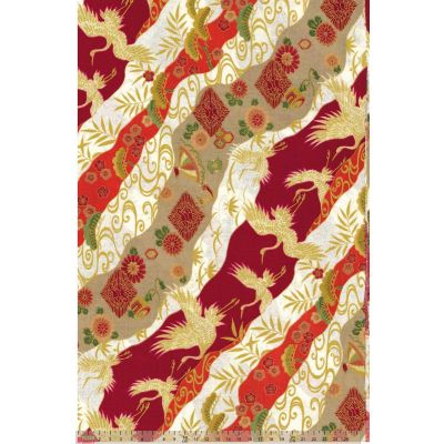 Japanese Import - Tsuru - Cranes Stripe Red Metallic