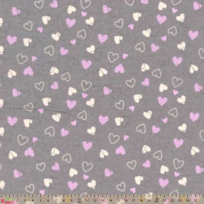 Nutex - Flannel Fabric - Hearts Grey