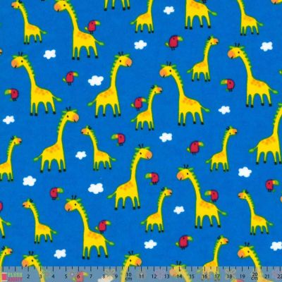 Nutex - Flannel Fabric - Giraffes On Royal Blue
