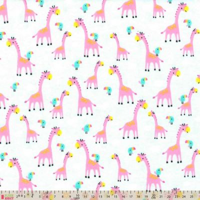 Remnant -Nutex - Flannel Fabric - Giraffes On Pale Blue - 50 x 55cm