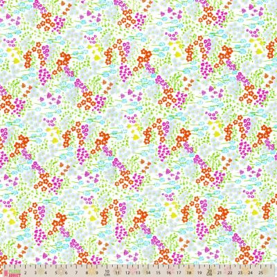 Cotton Poplin Fabric - Scattered Floral Silver And Orange