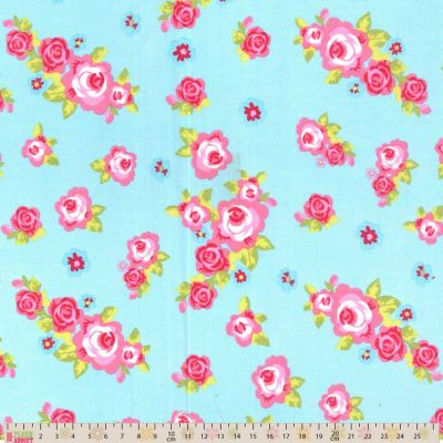 Cotton Fabric - Roses On Sky Blue
