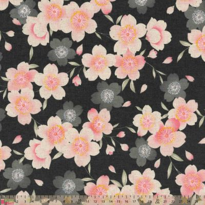 Cosmo - Cotton Canvas Fabric - Pink Blossom On Charcoal