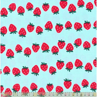 Cosmo - Oxford Cloth - Strawberry Rows On Light Blue