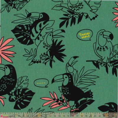 Cosmo - Cotton Canvas Fabric - Toucans On Dark Teal