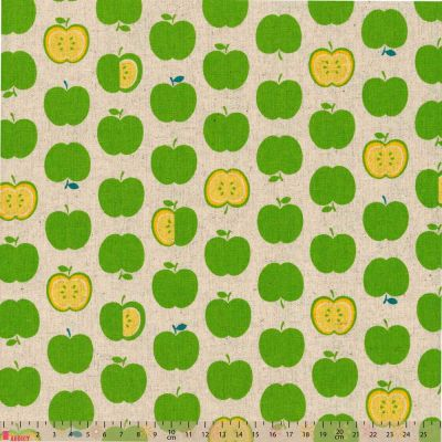 Sevenberry - Linen Cotton Blend - Green Apples On Natural