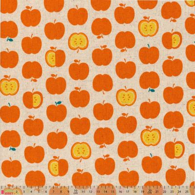 Sevenberry - Linen Cotton Blend - Orange Apples On Natural