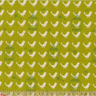 Remnant -Sevenberry - Cotton Canvas Fabric - Birds On Green - 36 x 110cm