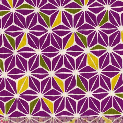 Sevenberry - Textured Cotton Canvas - Purple Geometric Flower Tiles