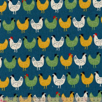 Sevenberry - Farmyard - Chickens On Blue