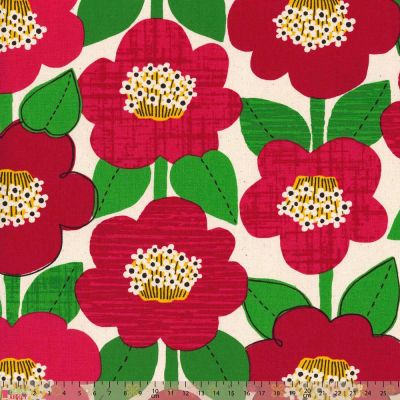 Cosmo - Cotton Canvas Fabric - Red Flowers