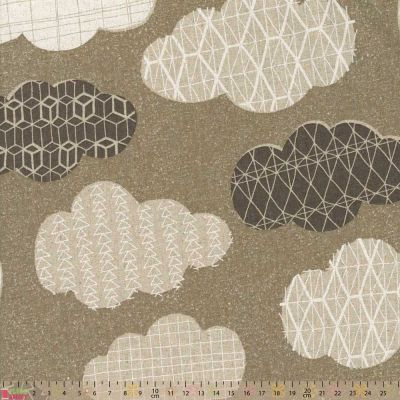 Cosmo - Cotton Hemp Canvas - Clouds On Grey