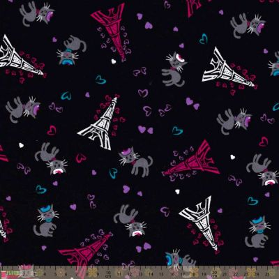 Nutex - Flannel Fabric - Eiffel Tower