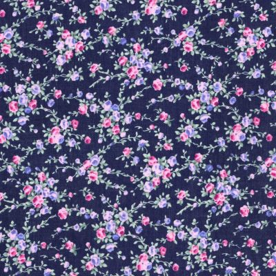 Cotton Lawn - Pink And Lilac Floral On Navy